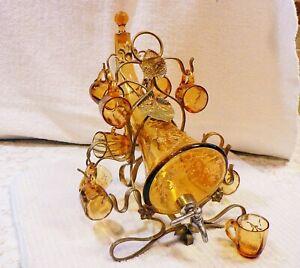VICTORIAN MOSER CORDIAL SET GOLD GLASS CORNUCOPIA DECANTER & 11 MINIATURE MUGS