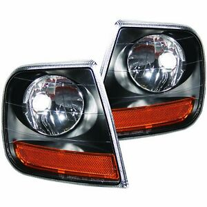 ANZO Corner Lights Black with Amber Reflector For 1997-2003 Ford F-150 - 521040