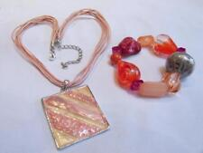 PRETTY - Coral/Pink Thong & Enamel NECKLACE + Pink/Coral/Silver Bead BRACELET