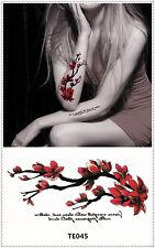 Red Flower Tattoo Sticker DIY Keep 3-5 days Waterproof 9x17cm TE045