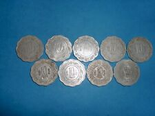 "INDIA COINS - 9  X "" 10 PAISE ""  OLD  COINS -ODD-SHAPE - RARE - 1971-1982 # 11AS"