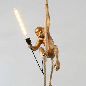 LED Resin Monkey Pendant Light Modern Hemp Rope Lamps For Living Room Art Parlor