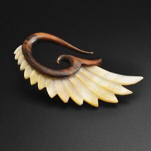 Wooden Spiral Ear Gauge Stretcher Sono Wood & MOP Angel Wing SIBJ Quality