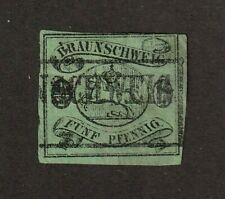 Brunswick stamp #6, used, German state, pre 1900, imperf,  CV $240