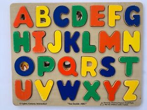 Vintage Melissa & Doug Classic Wooden Peg Puzzles, See-Inside Alphabet