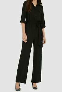 Michael Kors Women's Black Roll-Sleeve Belted Safari Jumpsuit S Small NWT $199