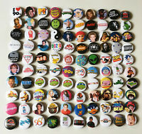"1.25"" Lot of 100 1990s 90s Retro Pop Culture Pinback Buttons Pins Music Comic"