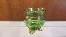 EAPG ☆ by US GLASS ☆ Green Gold 3 Toed/Footed Colorado Souvenir Toothpick Holder