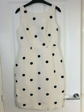 COAST STUNNING MONOCHROME WHITE BLACK LINEN SILK POLKA DOT SPOT SHIFT DRESS - 10