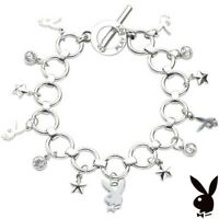 Playboy Charm Bracelet Silver Plated Swarovski Crystal Bunny Star Toggle XMAS 02