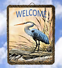 Tropical Beach 370 Sea Blue Heron Bird Decor Art Prints Welcome lalarry Ventage
