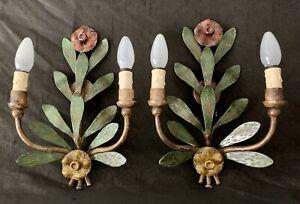 Vintage 2x Wandleuchte Hans Möller Kunstschmiede Blumen Leuchte Lampe Wandlampe