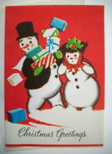 Mr Mrs Snowman wind storm 50's Mcm vintage Christmas greeting card unused *7B
