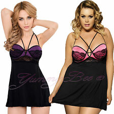Yummy Bee Sexy Lace Babydoll Plus Size 8-24 Underwired Lingerie Chemise Dress UK