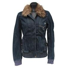 Roxy Jean AIRBOURNE Denim Fur Collar Jacket Womens Size 10 Quiksilver Dark Blue