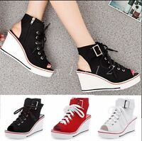 Womens Wedge Buckles Creeper Lace Up Open Toe Summer Sneakers Casual Shoes Size