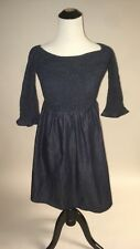 NWT SZ XS Anthropologie Smocked Off-The-Shoulder Denim Dress by Maeve Chambray