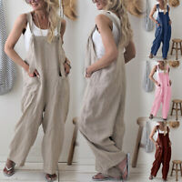 Womens Casual Dungarees Ropemr Wide Leg Baggy Playsuits Jumpsuits Loose Trousers