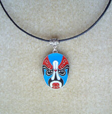 Red Blue Tribal Mask Enamel Pendant Black Cord Necklace