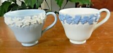 2 Wedgwood Embossed QUEENS WARE Lavender Cream DEMITASSE CUPS Shell Edge England