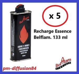 LOT de 5 RECHARGES ESSENCE pour BRIQUETS - BELFLAM - 133 ml - BELFLAM