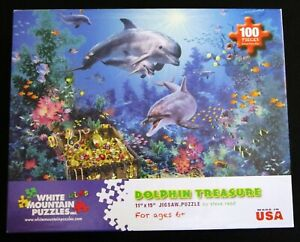 🐬 DOLPHIN TREASURE 100 Piece Jigsaw Puzzle * White Mountain 100% Complete 🐟