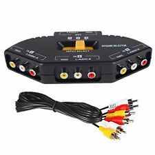 Selector de Video Compuesto Audio Switch 3 a 1 RCA XBox Ps2 Ps3 DVD RCA TV 2303
