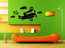 Wall Stickers Vinyl Decal Nursery For Kids Owls on a Plane ig1415