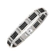 Men's Titanium and black wire Bracelet 22cm