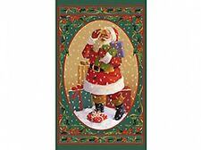 Father Christmas Santa Large 100% Cotton Quilting Fabric Panel Wall Hanging