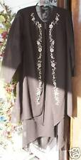 S.L. Fashion Brown Silky evening wear Embroidery 2 Pc plus size