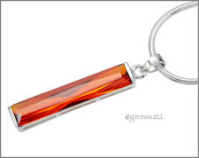 925 Silver Rectangle Pendant w/CZ Orange Red 6x31 65004