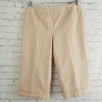 Cato Womens Capris Short Cropped Pants Size 10 Brown Orange Striped Pockets