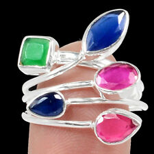 Sapphire, Ruby, Emerald 925 Sterling Silver Ring Jewelry s.8 RR87123