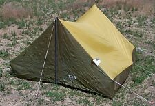 Vintage Wenzel Model 31021 Pup Tent w/ 1' Eaves 6.5 x 6.5' x 4' H Brown 3 Pers.