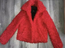 Ladies Size S (8-10) River Island Red Teddy Jacket Coat