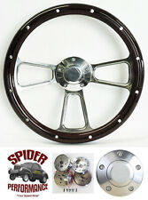 "78-91 Ford pickup Ranchero Bronco steering wheel 14"" MAHOGANY biilet w/rivets"