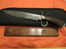 Custom Handmade Knife. Dan Graves Damascus Stag Fighter. Unused. Excellent