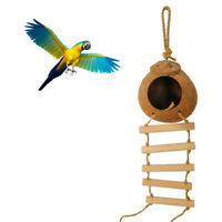 LD_ Parrot Bird Pet Hanging Nest Coconut Shell Hammock Ladder Bed Cage Decor C