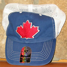 L/XL Toronto Blue Jays MLB Baseball '47 Fitted Ball Cap Hat Mesh Back Maple Leaf