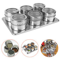 6pcs Magnetic Spice Tins Stainless Steel Storage Container Jars With Rack Holder
