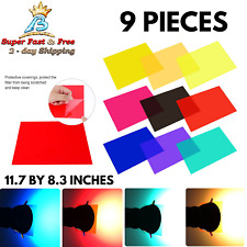 Gel Light Filter Photography Colour Lamp Transparent Plastic Sheet Film 9 Pcs