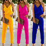 Women Solid Strappy V Neck Jumpsuit Romper Playsuit Ladies Summer Casual Trouser