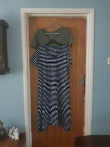 Two Cuddl duds dresses size L Navy Breton and Khaki Green