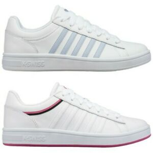 K-Swiss Ladies Court Winston Trainers Sneakers Leather Fashion Shoe Lace Closure