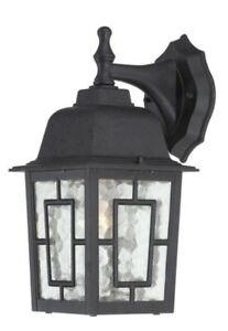 Nuvo Lighting 1-Light Textured Outdoor Wall Lantern Sconce Black 60-4923