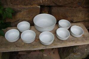 8 tlg. Schüssel Dessertschalen Set Keramik weiß
