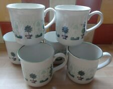Staffordshire Tableware Topiary 6 x Large Mugs Lovely Condition