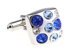 Shades of blue Diamonds Silver Cufflinks Formal Wear for Suit Shirt Wedding
