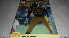 GameDay Official NFL Magazine Rams vs Raiders December 23, 1985 Anaheim Stadium